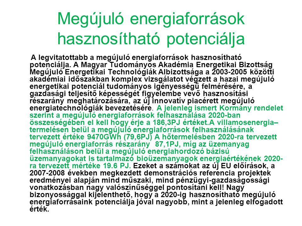 Megújuló energiaforrások hasznosítható potenciálja A legvitatottabb a megújuló energiaforrások hasznosítható potenciálja. A Magyar Tudományos Akadémia