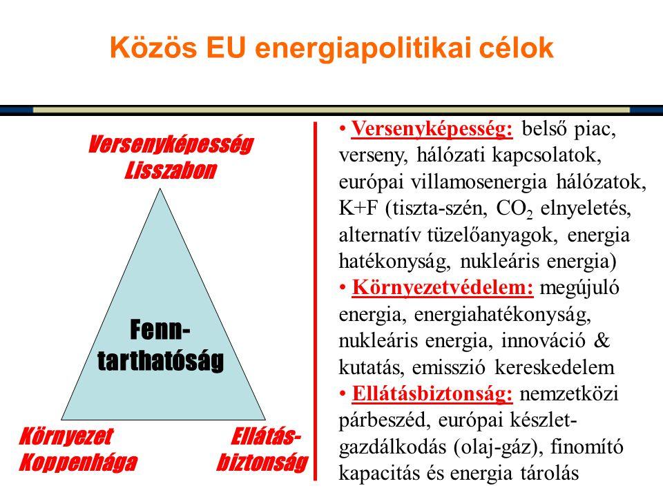 Közös EU energiapolitikai célok Versenyképesség Lisszabon Környezet Ellátás- Koppenhága biztonság Versenyképesség: belső piac, verseny, hálózati kapcs