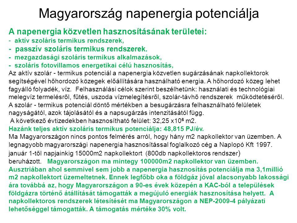 Magyarország napenergia potenciálja A napenergia közvetlen hasznosításának területei: - aktív szoláris termikus rendszerek, - passzív szoláris termiku