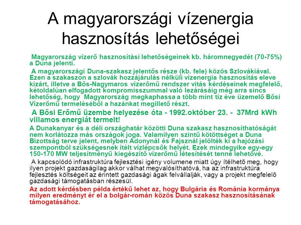 Magyarország vízerő hasznosítási lehetőségeinek kb. háromnegyedét (70-75%) a Duna jelenti. A magyarországi Duna-szakasz jelentős része (kb. fele) közö