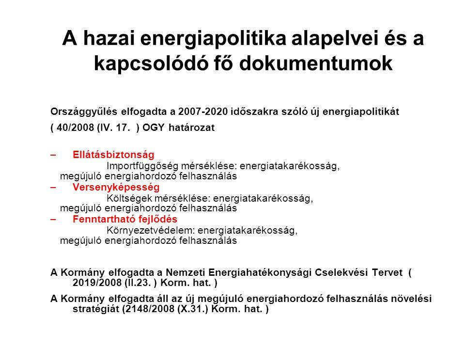 A hazai energiapolitika alapelvei és a kapcsolódó fő dokumentumok Országgyűlés elfogadta a 2007-2020 időszakra szóló új energiapolitikát ( 40/2008 (IV