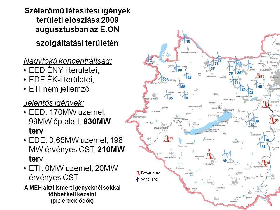 Szélerőmű létesítési igények területi eloszlása 2009 augusztusban az E.ON szolgáltatási területén Nagyfokú koncentráltság: EED ÉNY-i területei, EDE ÉK