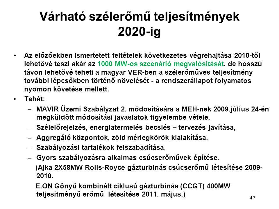 Várható szélerőmű teljesítmények 2020-ig Az előzőekben ismertetett feltételek következetes végrehajtása 2010-től lehetővé teszi akár az 1000 MW-os szc