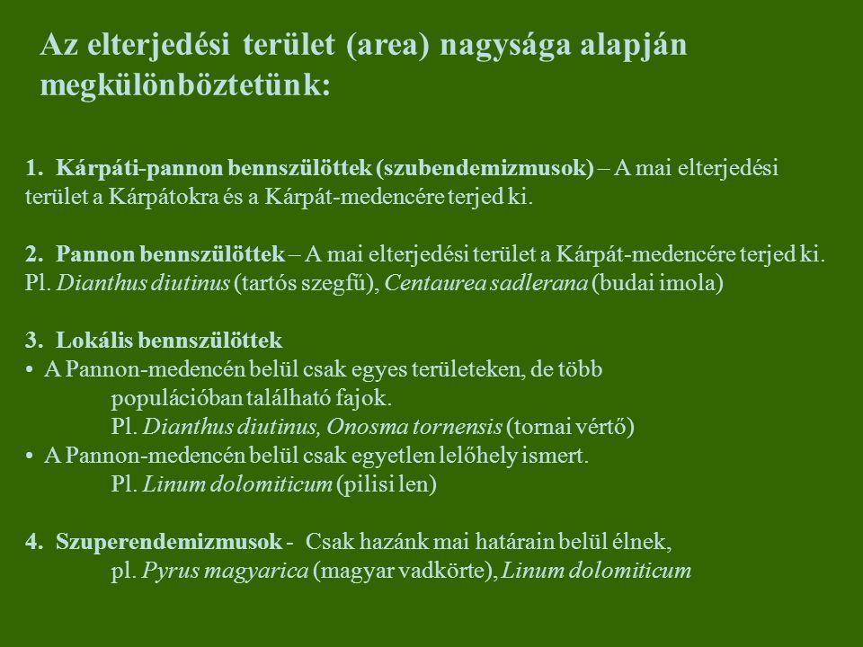 1. Kárpáti-pannon bennszülöttek (szubendemizmusok) – A mai elterjedési terület a Kárpátokra és a Kárpát-medencére terjed ki. 2. Pannon bennszülöttek –
