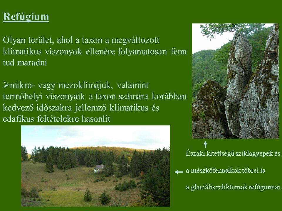 Refúgium Olyan terület, ahol a taxon a megváltozott klimatikus viszonyok ellenére folyamatosan fenn tud maradni  mikro- vagy mezoklímájuk, valamint t