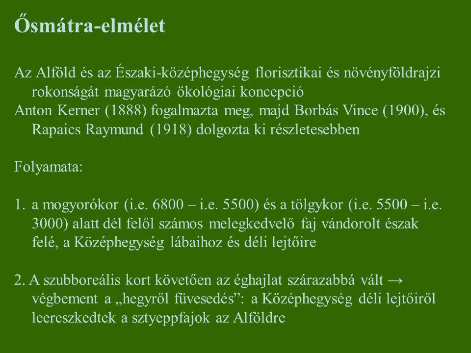 Ősmátra-elmélet Az Alföld és az Északi-középhegység florisztikai és növényföldrajzi rokonságát magyarázó ökológiai koncepció Anton Kerner (1888) fogal