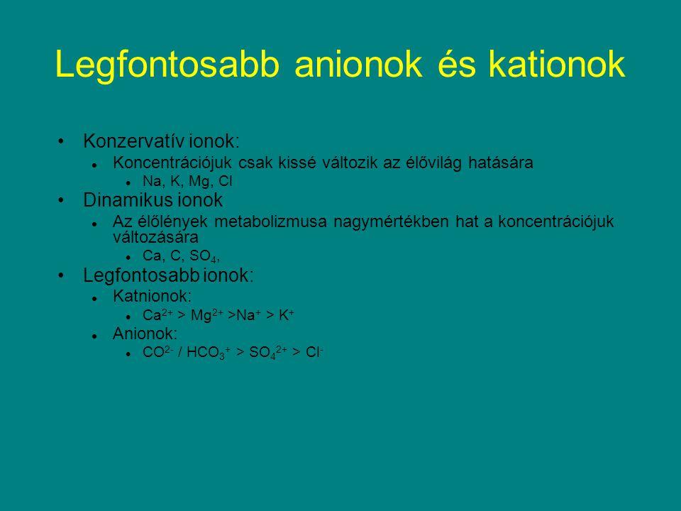 Legfontosabb anionok és kationok Konzervatív ionok: Koncentrációjuk csak kissé változik az élővilág hatására Na, K, Mg, Cl Dinamikus ionok Az élőlénye