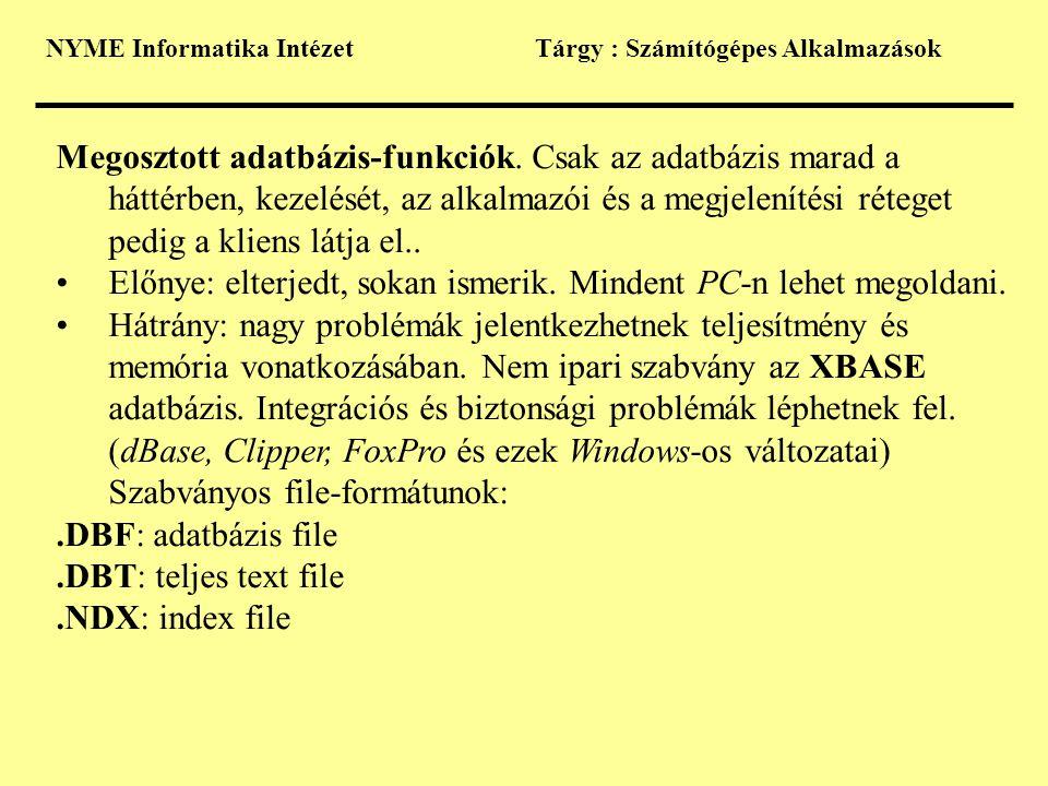 NYME Informatika IntézetTárgy : Számítógépes Alkalmazások Megosztott adatbázis-funkciók. Csak az adatbázis marad a háttérben, kezelését, az alkalmazói