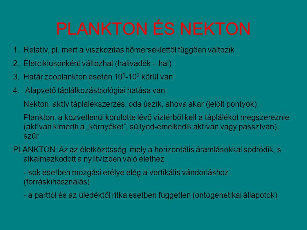 A plankton süllyedése a STOKES-EGYENLET v s : a részecske süllyedési sebessége (m/s) g:nehézségi gyorsulás (9,81 m/s 2 ) r:a süllyedő test térfogatával ekvivalens gömb sugara (m) p':a süllyedő részecske fajlagos tömege (kg/m 3 ) p:a folyadék (médium) fajlagos tömege (kg/m3) η: a médium viszkozitása (kg/m 2 /s) Φ:alakrezisztencia (gömbre 0) EVOLÚCIÓS ALKALMAZKODÁSI LEHETŐSÉGEK: r, p' és 