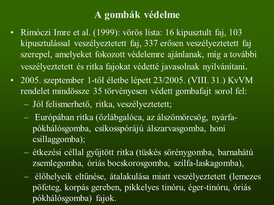 A gombák védelme Rimóczi Imre et al. (1999): vörös lista: 16 kipusztult faj, 103 kipusztulással veszélyeztetett faj, 337 erősen veszélyeztetett faj sz