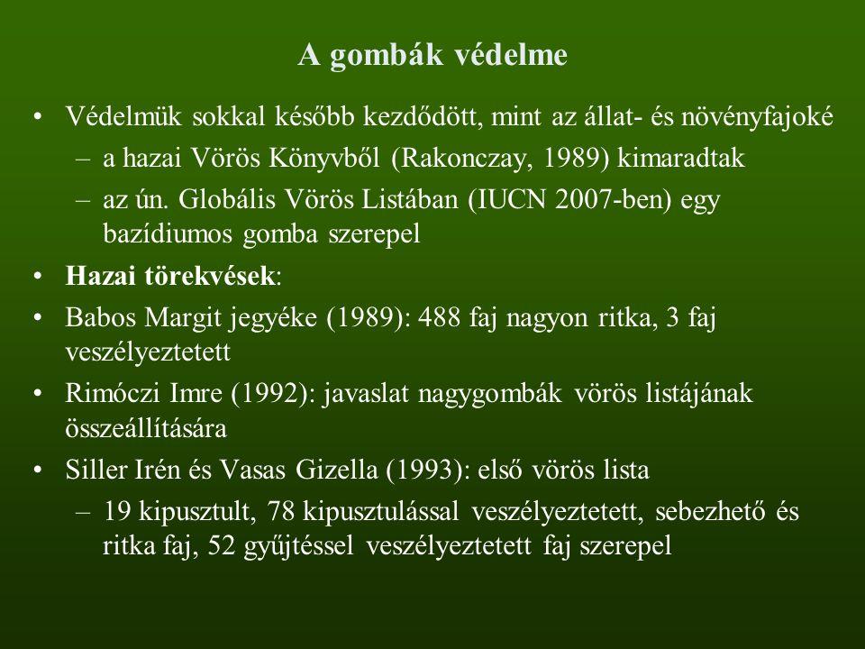 A gombák védelme Védelmük sokkal később kezdődött, mint az állat- és növényfajoké –a hazai Vörös Könyvből (Rakonczay, 1989) kimaradtak –az ún. Globáli