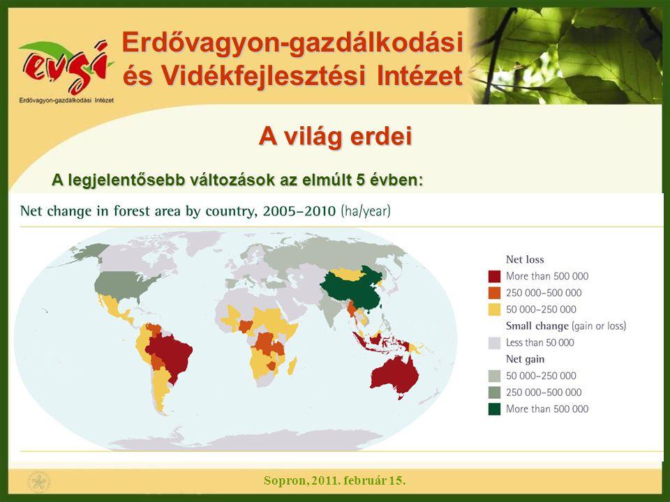 Erdővagyon-gazdálkodási és Vidékfejlesztési Intézet A világ erdei A legjelentősebb változások az elmúlt 5 évben: Sopron, 2011. február 15.