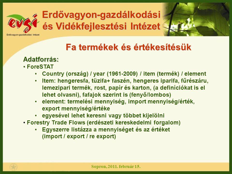 Erdővagyon-gazdálkodási és Vidékfejlesztési Intézet Sopron, 2011. február 15. Fa termékek és értékesítésük Adatforrás: ForeSTAT Country (ország) / yea