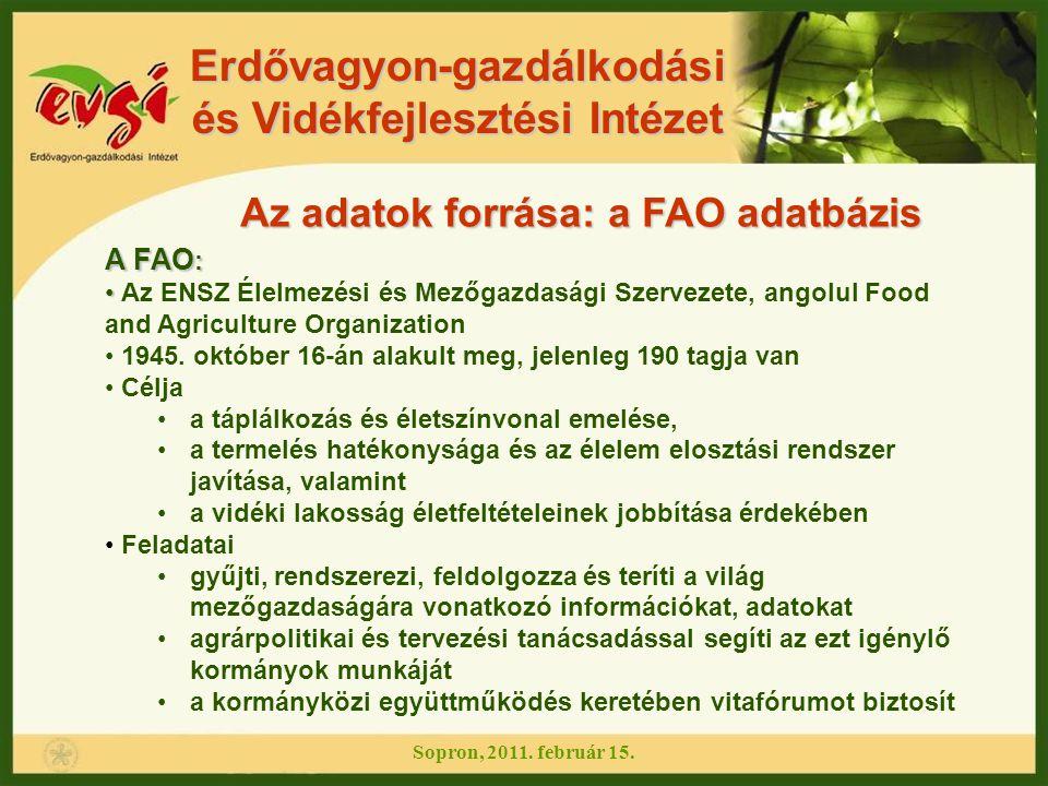 Erdővagyon-gazdálkodási és Vidékfejlesztési Intézet Sopron, 2011. február 15. Az adatok forrása: a FAO adatbázis A FAO : Az ENSZ Élelmezési és Mezőgaz