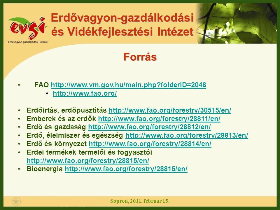 FAO http://www.vm.gov.hu/main.php?folderID=2048http://www.vm.gov.hu/main.php?folderID=2048 http://www.fao.org/ Erdőirtás, erdőpusztítás http://www.fao