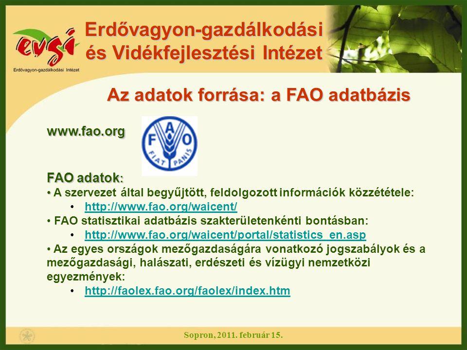 Erdővagyon-gazdálkodási és Vidékfejlesztési Intézet Sopron, 2011. február 15. www.fao.org FAO adatok : A szervezet által begyűjtött, feldolgozott info