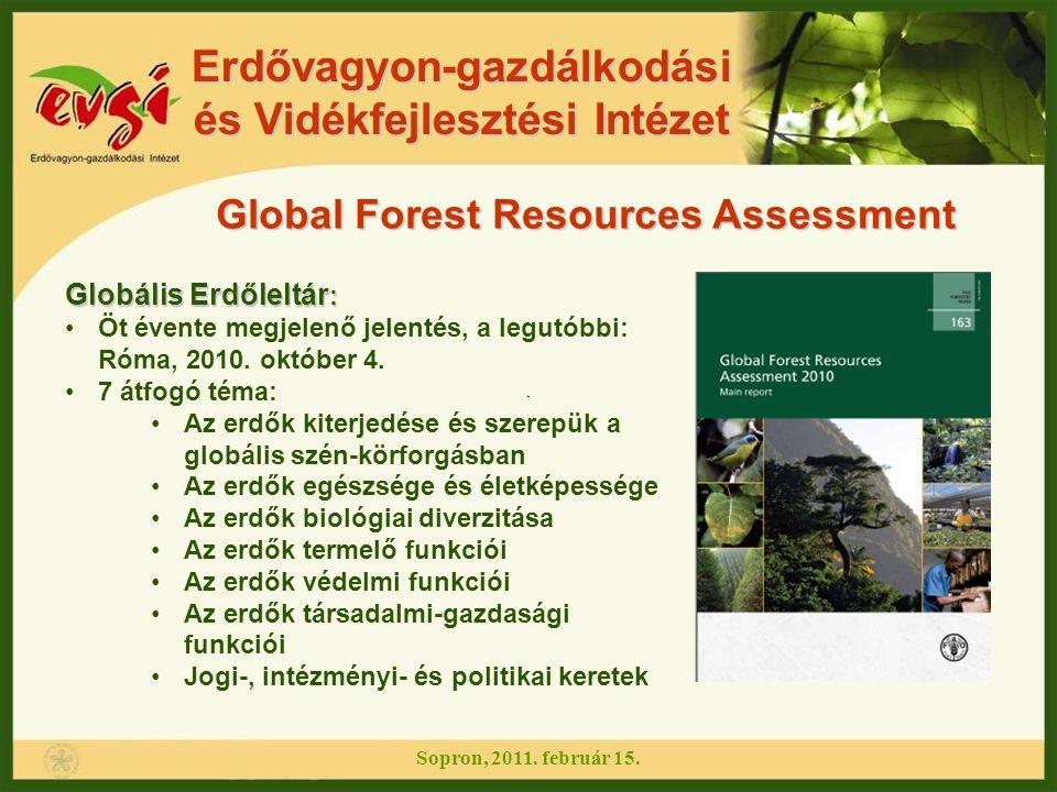 Erdővagyon-gazdálkodási és Vidékfejlesztési Intézet Global Forest Resources Assessment Globális Erdőleltár : Öt évente megjelenő jelentés, a legutóbbi