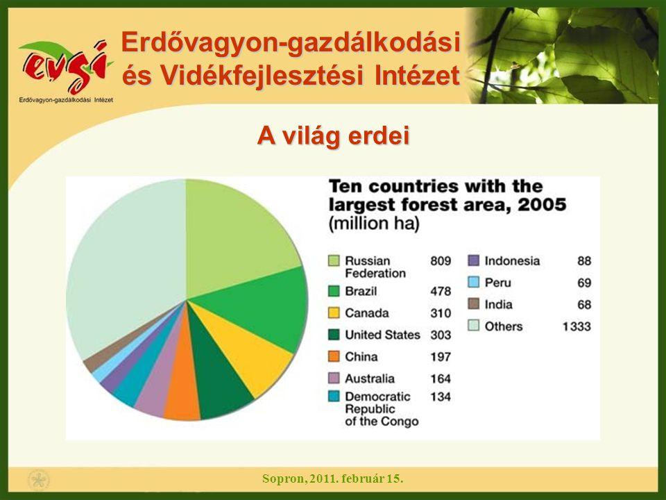Erdővagyon-gazdálkodási és Vidékfejlesztési Intézet A világ erdei Jelentős csökkenés: Afrika Dél-Amerika Növekedés: Európa Ázsia A világ erdeinek területe az elmúlt 20 évben (1990- 2010) évente átlagosan 6,8 millió hektárral csökkent.