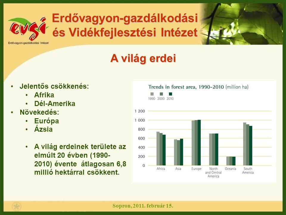Erdővagyon-gazdálkodási és Vidékfejlesztési Intézet Erdőpusztulás, erdőirtás: Évente 13 millió ha pusztul el a Föld erdeiből az erdőirtások miatt,de a nettó erdőterület kisebb mértékben csökken, az erdősítéseknek és a természetes beerdősüléseknek köszönhetően 1990 és 2000 között a nettó erdőterület csökkenés 8,9 millió ha volt évente 2000 és 2005 között a nettó erdőterület csökkenés 7,3 millió ha volt évente, amely naponta 200 km 2 terület veszteségnek felel meg Évente az őserdők 6 millió ha-ja pusztul el vagy alakul át az erdőirtások vagy a fakitermelések miatt Évente 2,8 millió ha az erdőtelepítések területe Az a 10 ország, melyekben évente a legnagyobb az erdőterület veszteség, az összes erdőterület veszteségből évente 8,2 millió ha-t tesz ki (ezek: Brazília, Indonézia, Szudán, Mianmar, Zambia, Tanzánia, Nigéria, D.R.