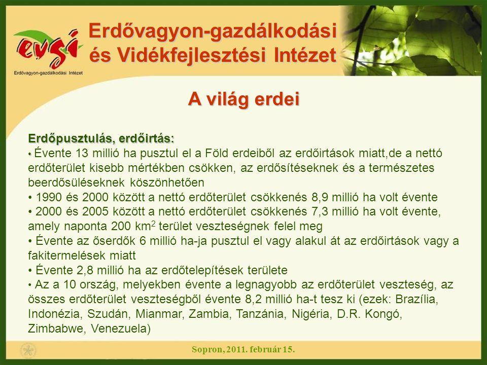 Erdőpusztulás, erdőirtás: Az a 10 ország, melyekben a legmagasabb volt az erdőterület gyarapodása, összesen 5,1 M ha erdőterület növekedést hoz évente az erdőtelepítések és a beerdősülések által (ezek: Kína, Spanyolország, Vietnam, USA, Olaszország, Chile, Kuba, Bulgária, Franciaország és Portugália) 37 ország vesztett legalább 1%-ot erdőterületéből 2000 és 2005 között, még 20 ország erdőterülete növekedett legalább 1%-kal az erdőtelepítések és az erdősülések által Erdővagyon-gazdálkodási és Vidékfejlesztési Intézet A világ erdei Fotó: flip.01/flickr.comflip.01/flickr.com Sopron, 2011.