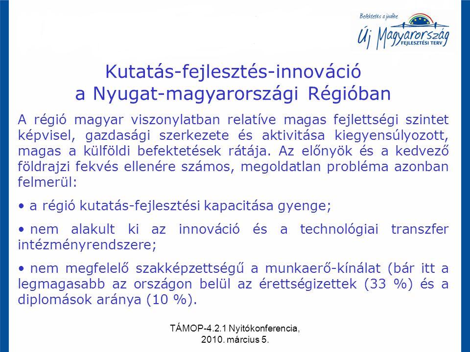 TÁMOP-4.2.1 Nyitókonferencia, 2010. március 5. Kutatás-fejlesztés-innováció a Nyugat-magyarországi Régióban A régió magyar viszonylatban relatíve maga