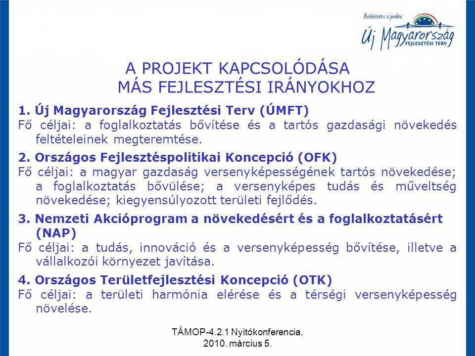 TÁMOP-4.2.1 Nyitókonferencia, 2010. március 5. A PROJEKT KAPCSOLÓDÁSA MÁS FEJLESZTÉSI IRÁNYOKHOZ 1. Új Magyarország Fejlesztési Terv (ÚMFT) Fő céljai: