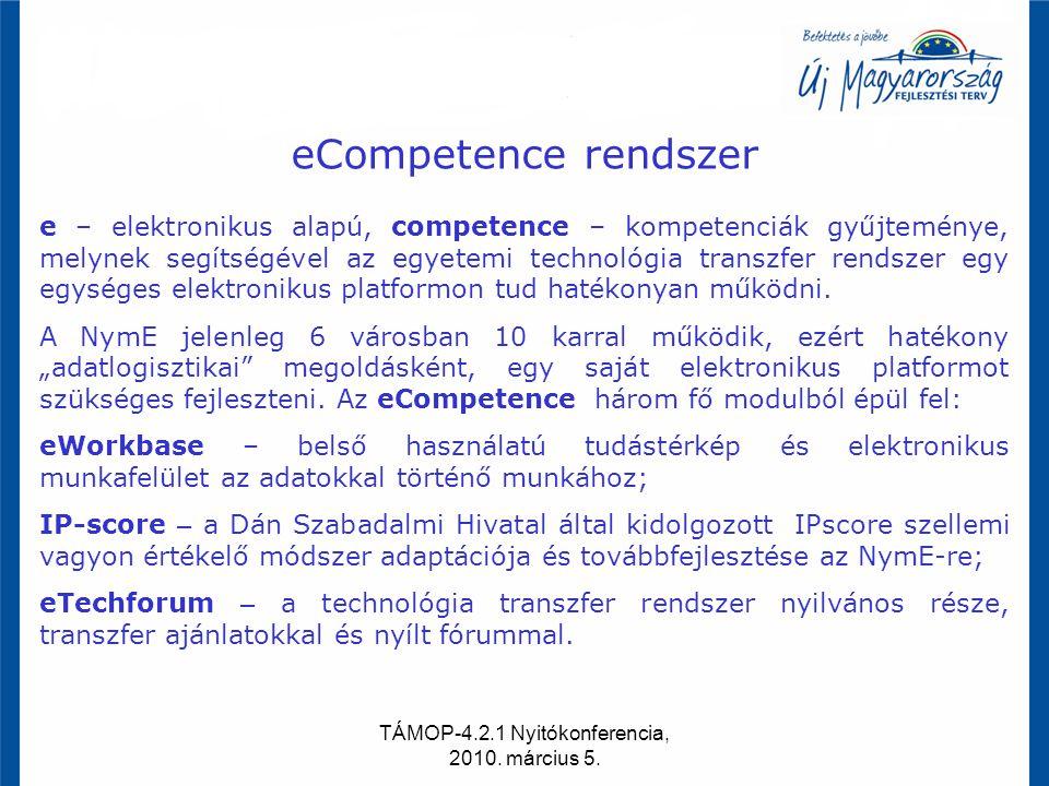 TÁMOP-4.2.1 Nyitókonferencia, 2010. március 5. eCompetence rendszer e – elektronikus alapú, competence – kompetenciák gyűjteménye, melynek segítségéve