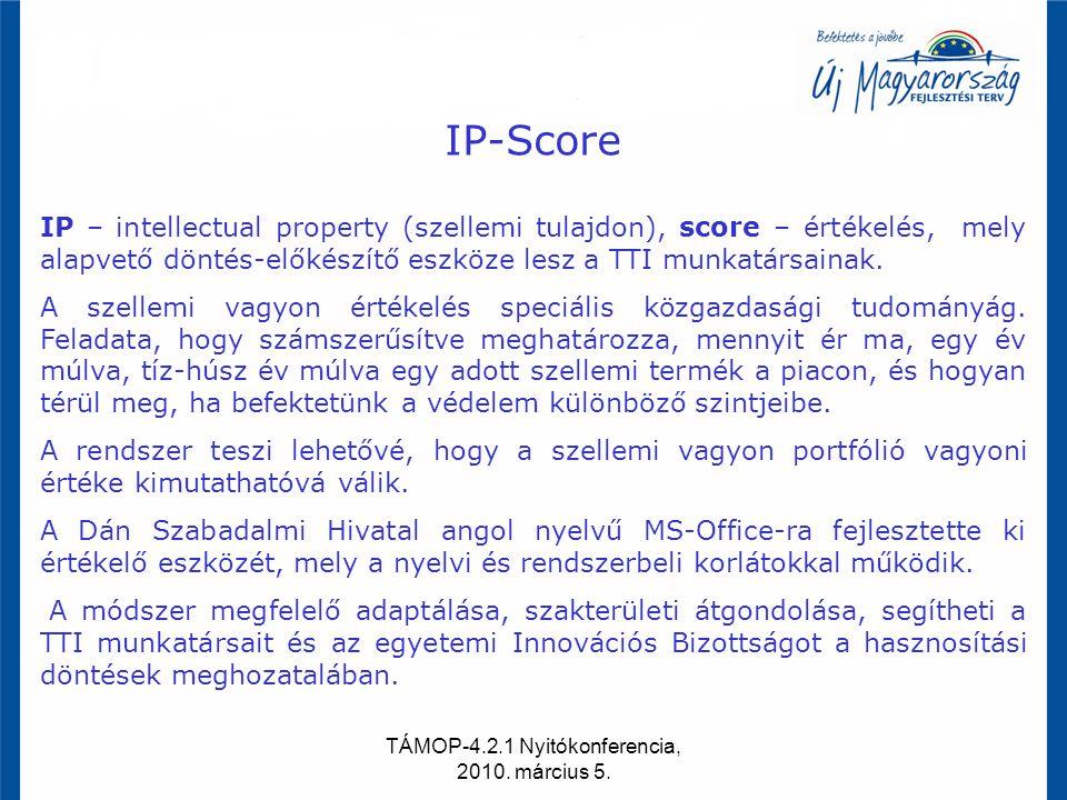 TÁMOP-4.2.1 Nyitókonferencia, 2010. március 5. IP-Score IP – intellectual property (szellemi tulajdon), score – értékelés, mely alapvető döntés-előkés