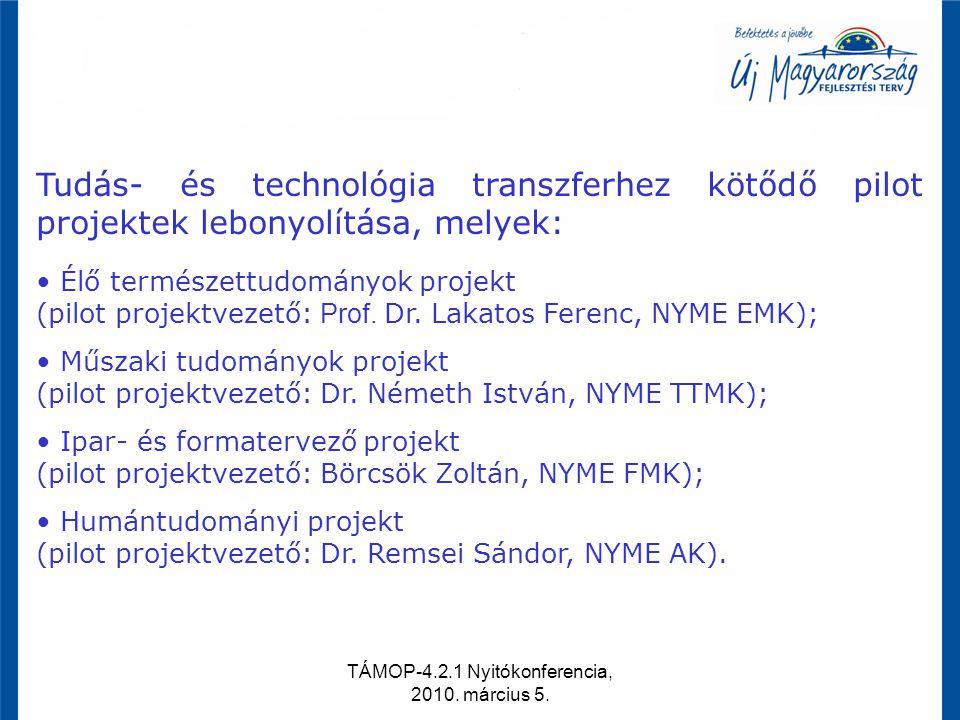 TÁMOP-4.2.1 Nyitókonferencia, 2010. március 5. Tudás- és technológia transzferhez kötődő pilot projektek lebonyolítása, melyek: Élő természettudományo