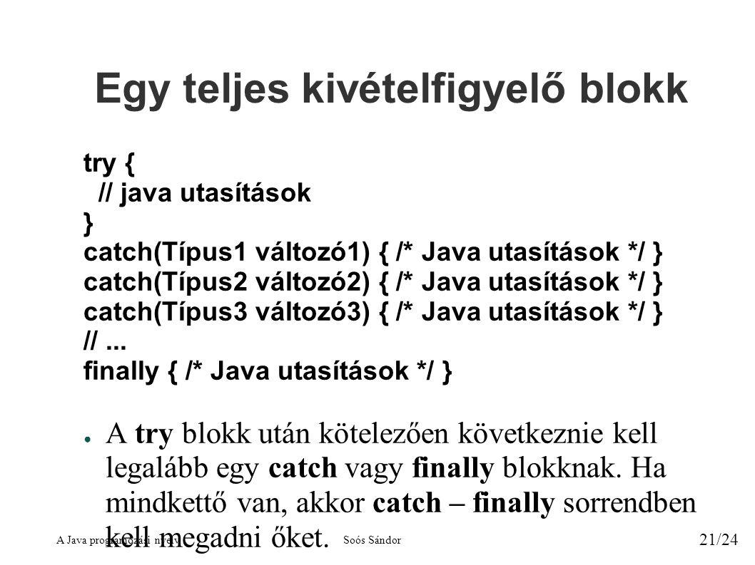 A Java programozási nyelvSoós Sándor 21/24 Egy teljes kivételfigyelő blokk try { // java utasítások } catch(Típus1 változó1) { /* Java utasítások */ } catch(Típus2 változó2) { /* Java utasítások */ } catch(Típus3 változó3) { /* Java utasítások */ } //...