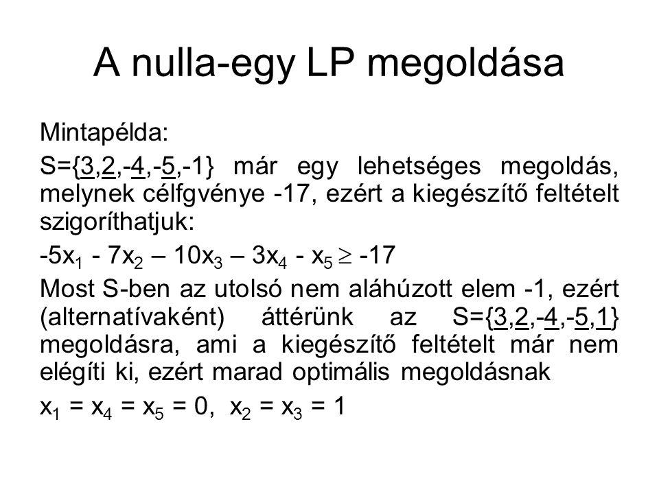 A nulla-egy LP megoldása Mintapélda: S={3,2,-4,-5,-1} már egy lehetséges megoldás, melynek célfgvénye -17, ezért a kiegészítő feltételt szigoríthatjuk: -5x 1 - 7x 2 – 10x 3 – 3x 4 - x 5  -17 Most S-ben az utolsó nem aláhúzott elem -1, ezért (alternatívaként) áttérünk az S={3,2,-4,-5,1} megoldásra, ami a kiegészítő feltételt már nem elégíti ki, ezért marad optimális megoldásnak x 1 = x 4 = x 5 = 0, x 2 = x 3 = 1