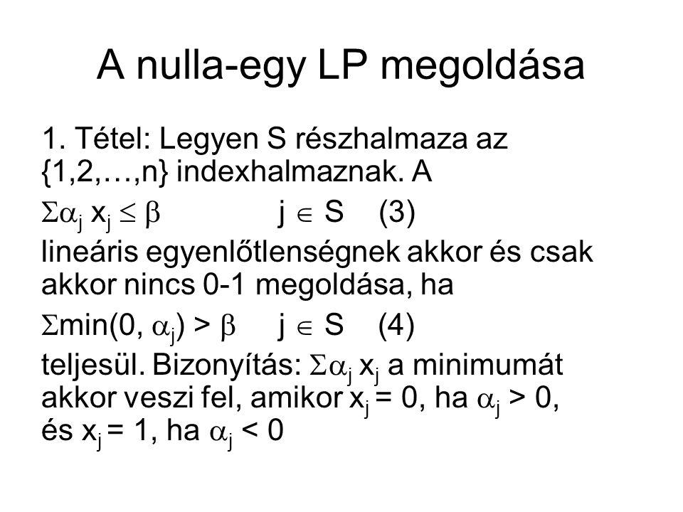 A nulla-egy LP megoldása 1. Tétel: Legyen S részhalmaza az {1,2,…,n} indexhalmaznak.