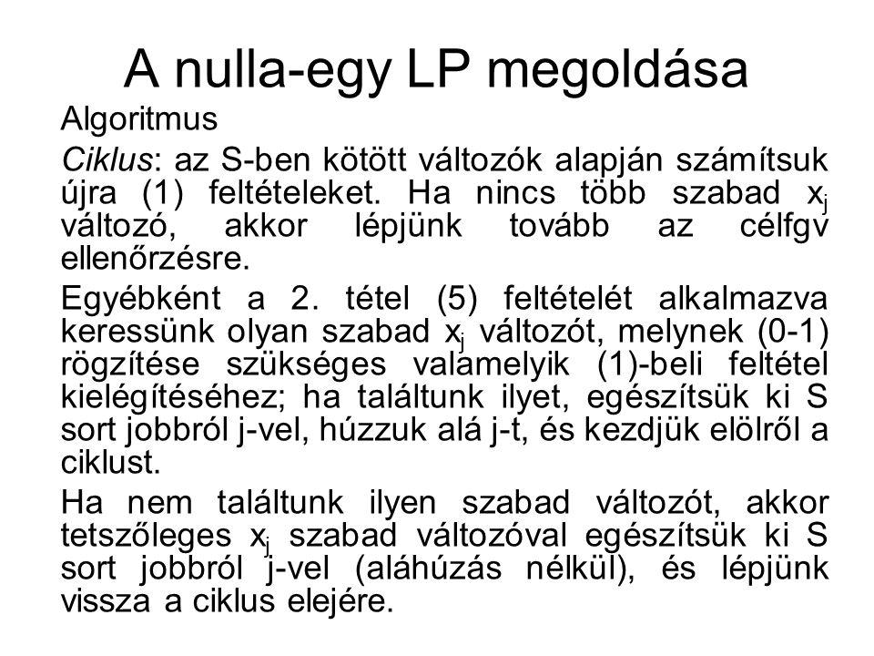 A nulla-egy LP megoldása Algoritmus Ciklus: az S-ben kötött változók alapján számítsuk újra (1) feltételeket.