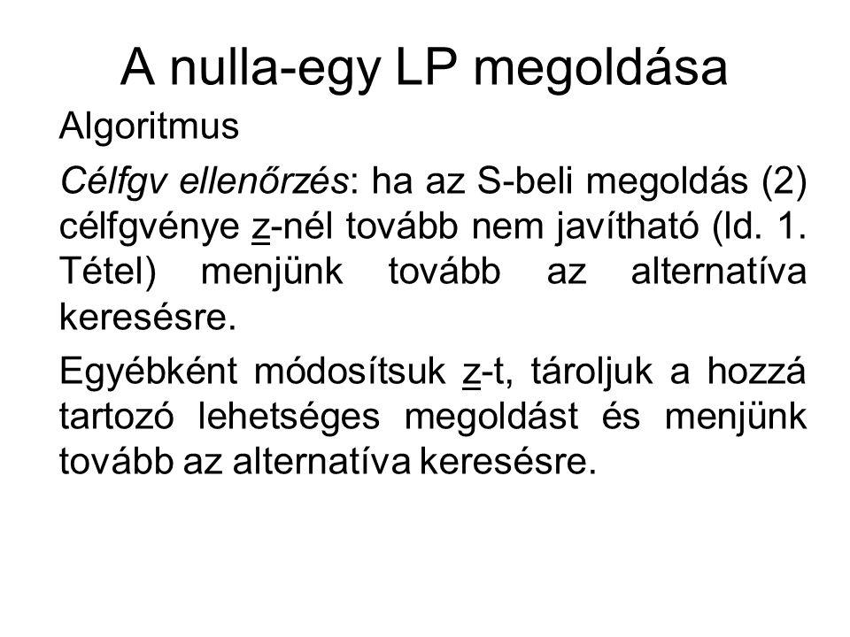 A nulla-egy LP megoldása Algoritmus Alternatíva keresése: válasszuk ki S sorban utolsó nem aláhúzott j elemét – ha nincs ilyen, akkor az eddig tárolt legjobb megoldás az optimális megoldás.
