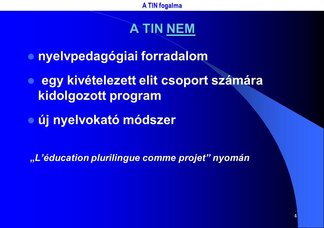 """4 A TIN NEM nyelvpedagógiai forradalom egy kivételezett elit csoport számára kidolgozott program új nyelvokató módszer """"L'éducation plurilingue comme projet nyomán A TIN fogalma"""