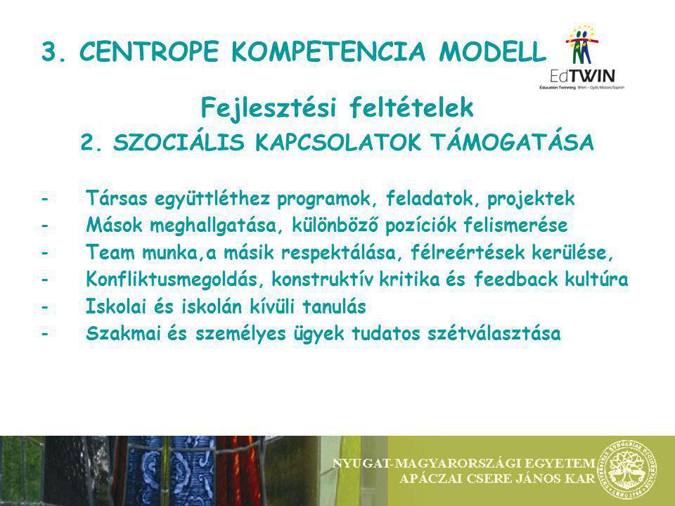 3. CENTROPE KOMPETENCIA MODELL Fejlesztési feltételek 2.