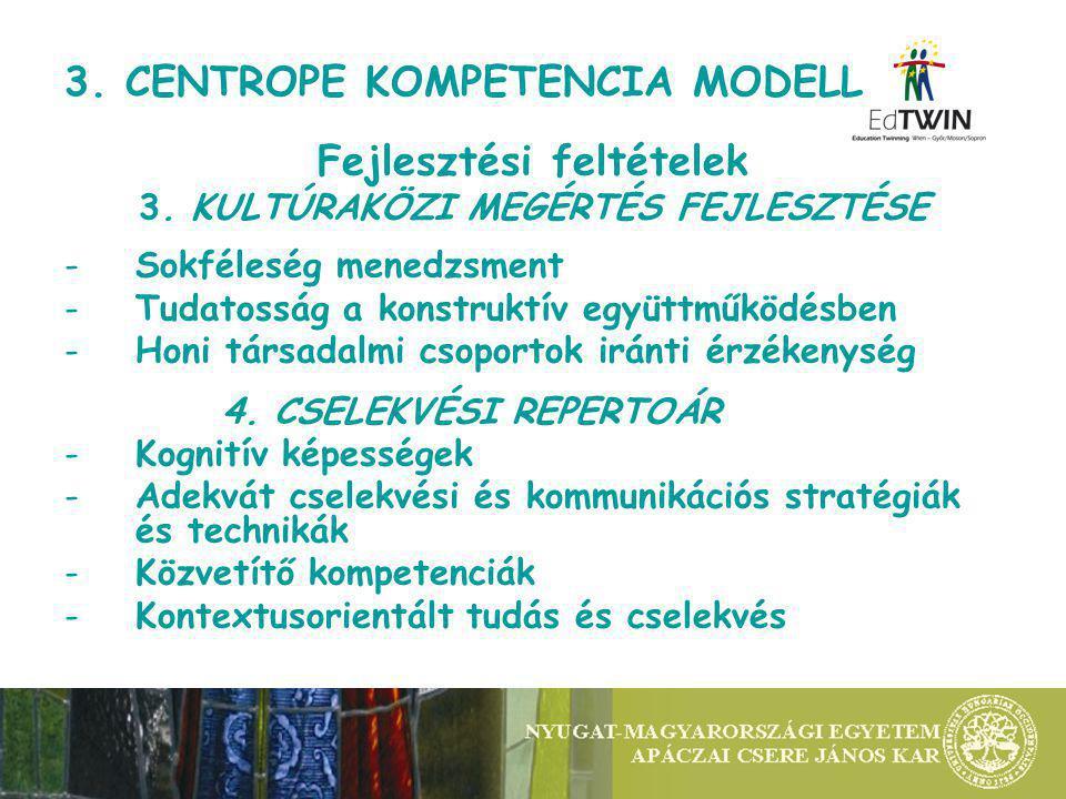 3. CENTROPE KOMPETENCIA MODELL Fejlesztési feltételek 3.