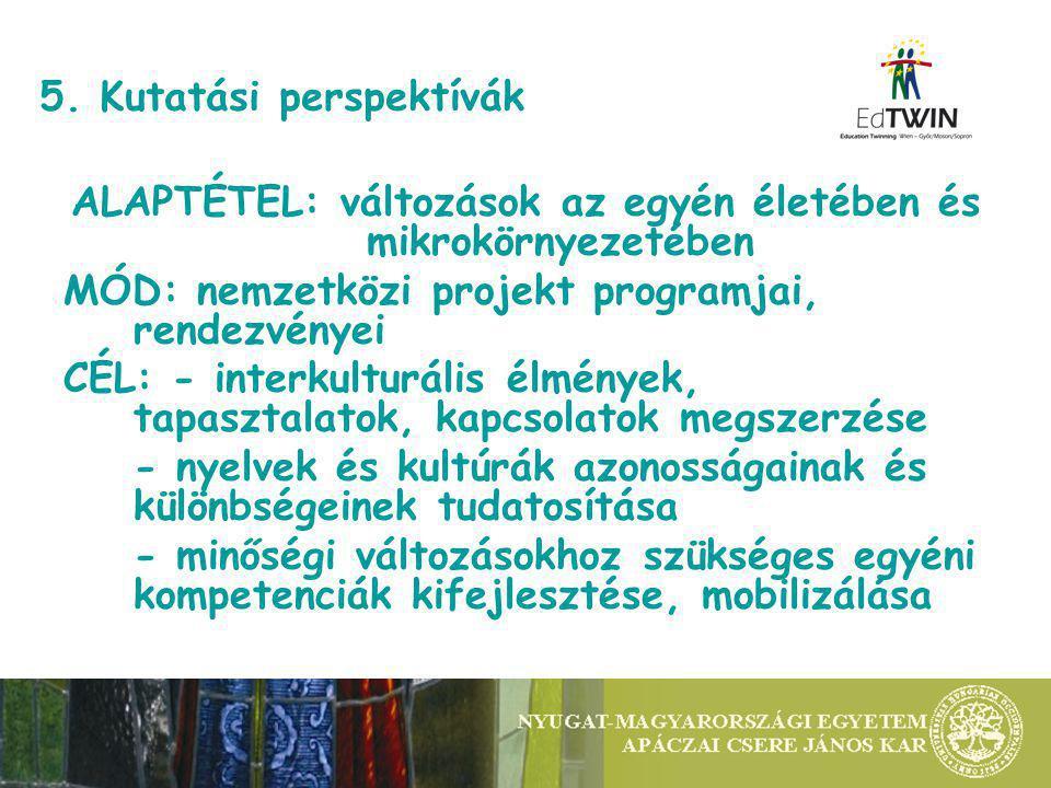 5. Kutatási perspektívák ALAPTÉTEL: változások az egyén életében és mikrokörnyezetében MÓD: nemzetközi projekt programjai, rendezvényei CÉL: - interku