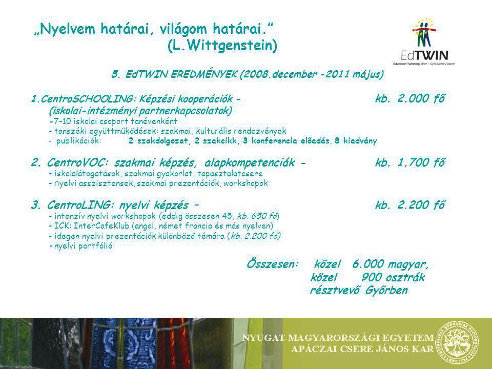 5. EdTWIN EREDMÉNYEK (2008.december -2011 május) 1.CentroSCHOOLING: Képzési kooperációk - kb.