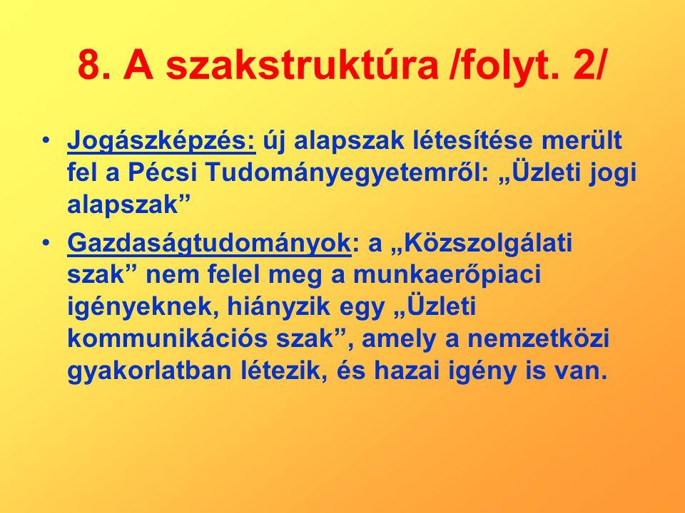 """8. A szakstruktúra /folyt. 2/ Jogászképzés: új alapszak létesítése merült fel a Pécsi Tudományegyetemről: """"Üzleti jogi alapszak"""" Gazdaságtudományok: a"""