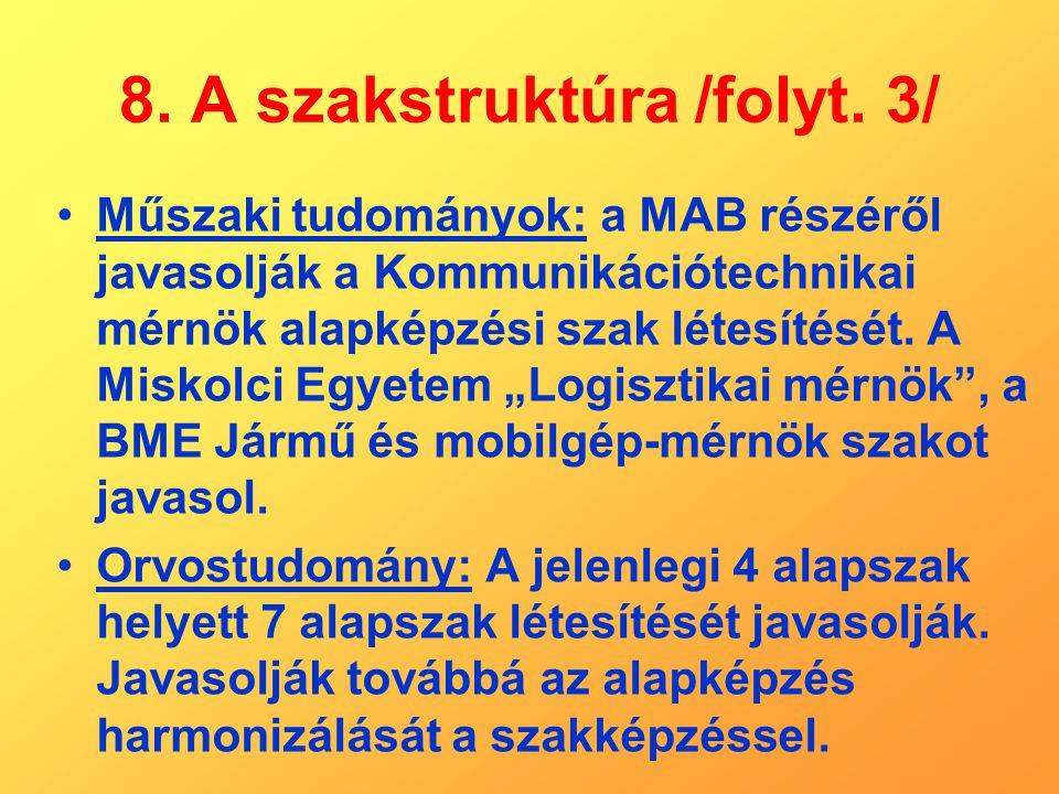 8. A szakstruktúra /folyt. 3/ Műszaki tudományok: a MAB részéről javasolják a Kommunikációtechnikai mérnök alapképzési szak létesítését. A Miskolci Eg