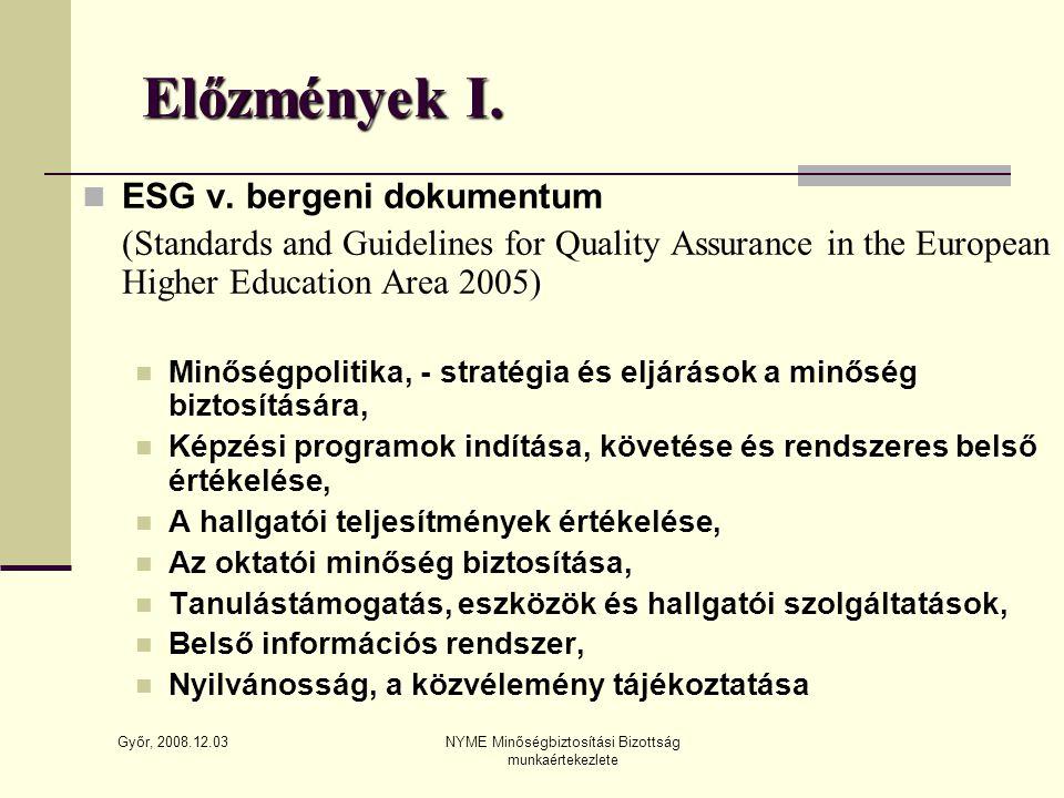 Győr, 2008.12.03 NYME Minőségbiztosítási Bizottság munkaértekezlete Előzmények I.