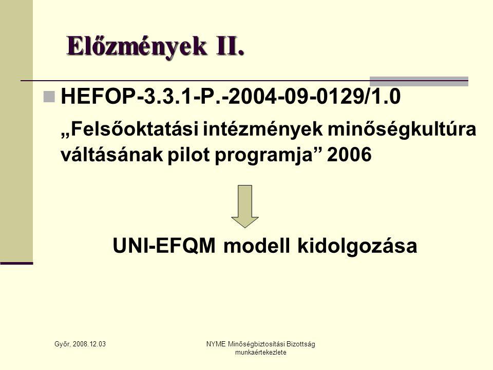 Győr, 2008.12.03 NYME Minőségbiztosítási Bizottság munkaértekezlete Előzmények II.