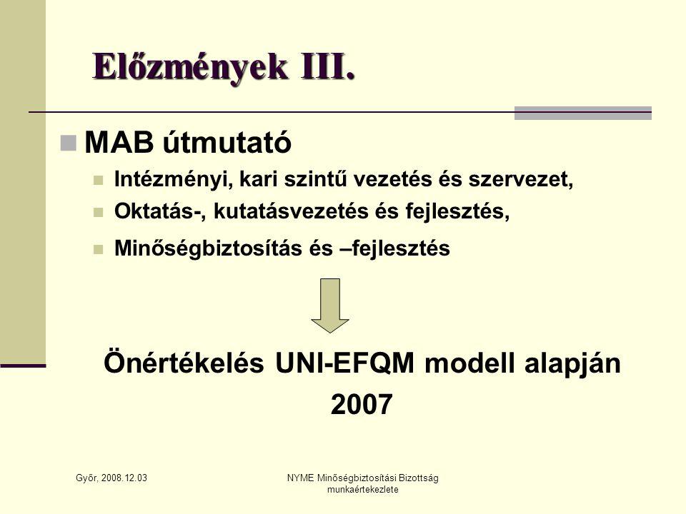 Győr, 2008.12.03 NYME Minőségbiztosítási Bizottság munkaértekezlete Előzmények III.