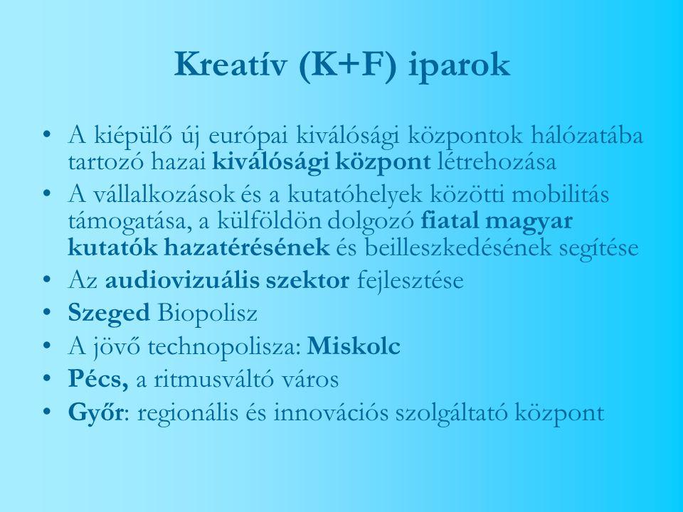 Kreatív (K+F) iparok A kiépülő új európai kiválósági központok hálózatába tartozó hazai kiválósági központ létrehozása A vállalkozások és a kutatóhelyek közötti mobilitás támogatása, a külföldön dolgozó fiatal magyar kutatók hazatérésének és beilleszkedésének segítése Az audiovizuális szektor fejlesztése Szeged Biopolisz A jövő technopolisza: Miskolc Pécs, a ritmusváltó város Győr: regionális és innovációs szolgáltató központ