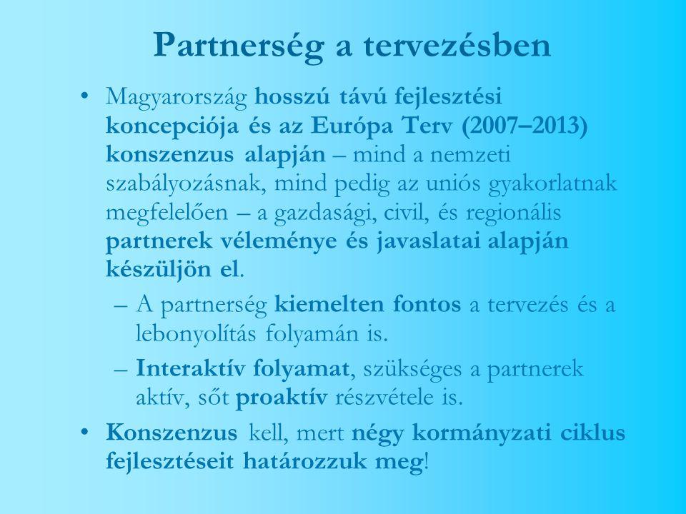 Partnerség a tervezésben Magyarország hosszú távú fejlesztési koncepciója és az Európa Terv (2007–2013) konszenzus alapján – mind a nemzeti szabályozásnak, mind pedig az uniós gyakorlatnak megfelelően – a gazdasági, civil, és regionális partnerek véleménye és javaslatai alapján készüljön el.