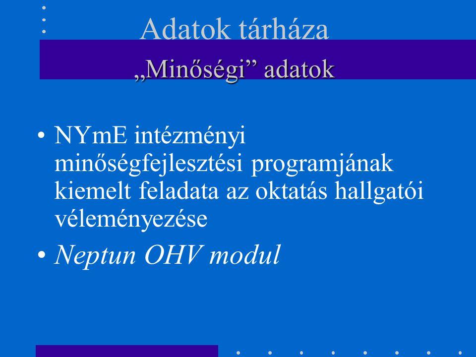 """NYmE intézményi minőségfejlesztési programjának kiemelt feladata az oktatás hallgatói véleményezése Neptun OHV modul """"Minőségi adatok Adatok tárháza"""