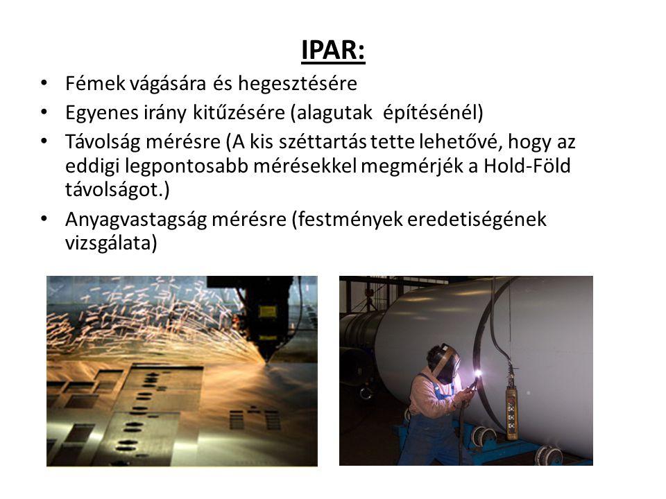 IPAR: Fémek vágására és hegesztésére Egyenes irány kitűzésére (alagutak építésénél) Távolság mérésre (A kis széttartás tette lehetővé, hogy az eddigi