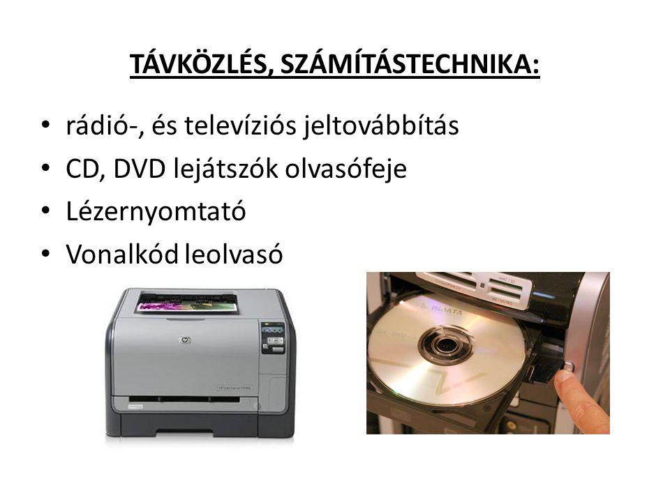 TÁVKÖZLÉS, SZÁMÍTÁSTECHNIKA: rádió-, és televíziós jeltovábbítás CD, DVD lejátszók olvasófeje Lézernyomtató Vonalkód leolvasó