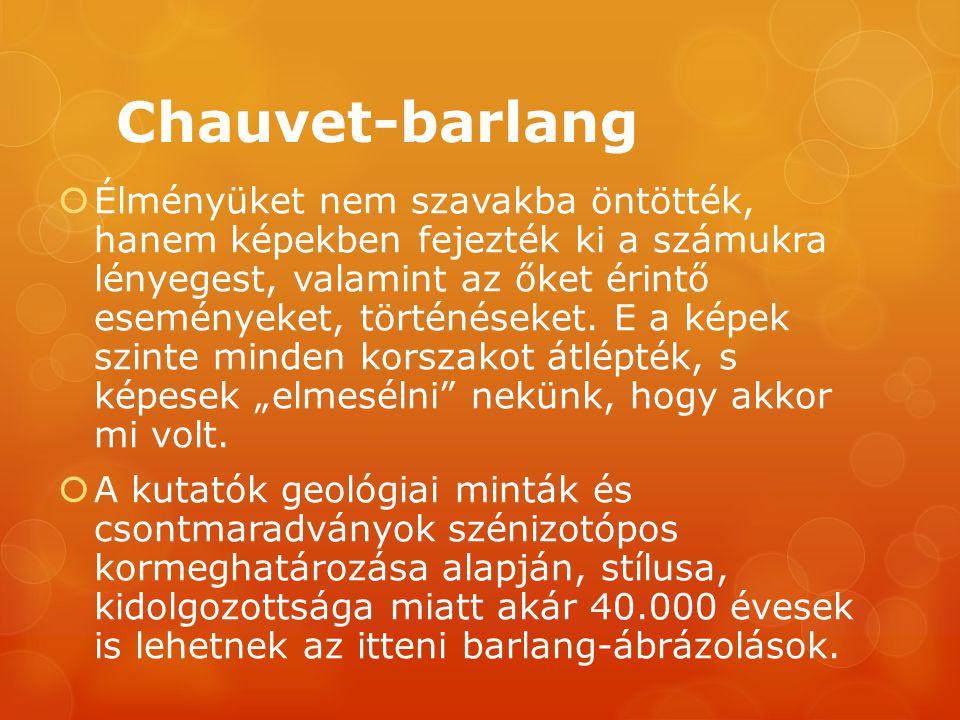 Chauvet-barlang  Élményüket nem szavakba öntötték, hanem képekben fejezték ki a számukra lényegest, valamint az őket érintő eseményeket, történéseket.